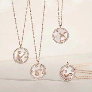 S925 Rose Gold Astrology Zodiac Pendant Necklace